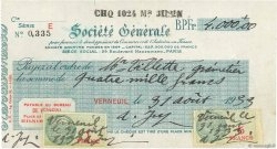 4000 Francs FRANCE régionalisme et divers VERNEUIL 1933 DOC.Chèque TTB