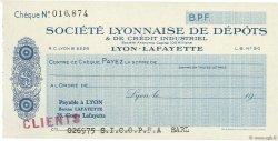 Francs FRANCE régionalisme et divers LYON 1931 DOC.Chèque SPL