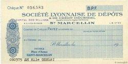 Francs FRANCE régionalisme et divers SAINT-MARCELLIN 1931 DOC.Chèque SUP