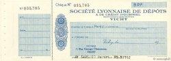 Francs FRANCE régionalisme et divers VICHY 1931 DOC.Chèque SUP
