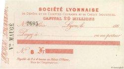 Francs FRANCE régionalisme et divers LYON 1865 DOC.Chèque SUP