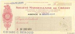 Francs FRANCE régionalisme et divers GOLFE-JUAN 1933 DOC.Chèque SUP