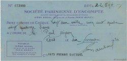 22594 Francs FRANCE régionalisme et divers PARIS 1936 DOC.Chèque TTB