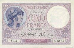 5 Francs VIOLET FRANCE  1919 F.03.03 pr.NEUF