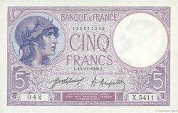 5 Francs VIOLET FRANCE  1920 F.03.04 NEUF