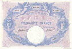 50 Francs BLEU ET ROSE FRANCE  1914 F.14.27 SUP à SPL