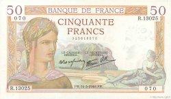 50 Francs CÉRÈS modifié FRANCE  1940 F.18.41 SPL