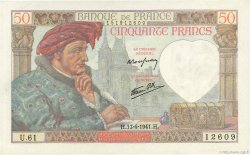 50 Francs JACQUES CŒUR FRANCE  1941 F.19.08 SPL