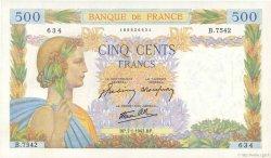 500 Francs LA PAIX FRANCE  1943 F.32.44 pr.SPL