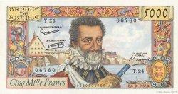 5000 Francs HENRI IV FRANCE  1957 F.49.03 SUP