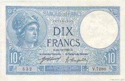 10 Francs MINERVE FRANCE  1920 F.06.04 pr.SUP