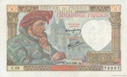 50 Francs JACQUES CŒUR FRANCE  1941 F.19.05 TTB+
