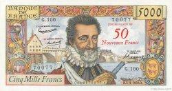 50 NF sur 5000 Francs HENRI IV FRANCE  1959 F.54.02 pr.SPL