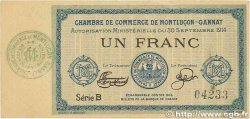 1 Franc FRANCE régionalisme et divers MONTLUÇON, GANNAT 1914 JP.084.05 SUP+