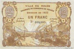 1 Franc FRANCE régionalisme et divers ROUEN 1922 JP.110.65 SUP