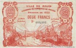 2 Francs FRANCE régionalisme et divers ROUEN 1922 JP.110.66 SUP