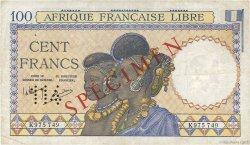 100 Francs AFRIQUE ÉQUATORIALE FRANÇAISE  1941 P.08s TTB