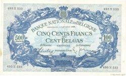 500 Francs= 100 Belgas BELGIQUE  1938 P.109 SUP+