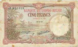 5 Francs CONGO BELGE  1929 P.08e TB+