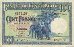 100 Francs CONGO BELGE  1951 P.17d TTB+