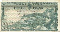 20 Francs CONGO BELGE  1957 P.31 TTB