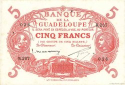 5 Francs Cabasson rouge GUADELOUPE  1943 P.07c SUP+