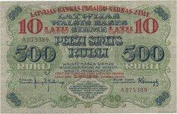 10 Latu sur 500 Rubli LETTONIE  1920 P.13a SUP