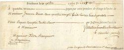 288 Livres 17 Sols FRANCE régionalisme et divers BORDEAUX 1769  TTB