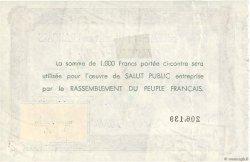 1000 Francs FRANCE régionalisme et divers  1943  TTB