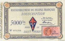 5000 Francs FRANCE régionalisme et divers  1943  TTB