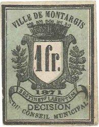 1 Franc FRANCE régionalisme et divers Montargis 1871 JER.45.02b TTB