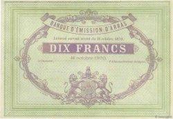10 Francs FRANCE régionalisme et divers Arras 1870 JER.62.02c SPL