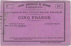 5 Francs FRANCE régionalisme et divers BÉTHUNE 1870 JER.62.03a TTB+