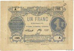 1 Franc FRANCE régionalisme et divers PARIS 1871 JER.75.02 TTB