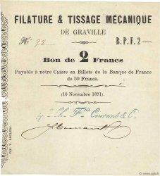 2 Francs FRANCE régionalisme et divers Graville 1871 JER.76.14a TTB+