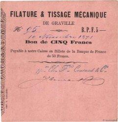 5 Francs FRANCE régionalisme et divers GRAVILLE 1871 JER.76.14b TTB+
