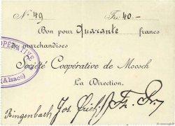 40 Francs FRANCE régionalisme et divers MOOSCH 1916 JPNEC.68.259 SUP