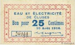 25 Centimes FRANCE régionalisme et divers CLUSES 1916 JPNEC.74.18 TTB