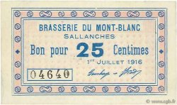 25 Centimes FRANCE régionalisme et divers SALLANCHES 1916 JPNEC.74.39 SUP