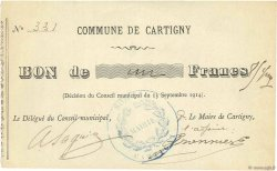 1 Franc FRANCE régionalisme et divers CARTIGNY 1914 JPNEC.80.53 SPL