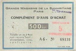 5 NF sur 500 Francs FRANCE régionalisme et divers Paris 1960  TB