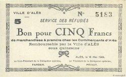 5 Francs FRANCE régionalisme et divers ALÈS 1940 K.003b SPL