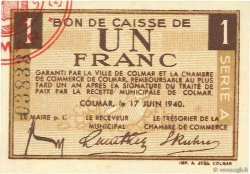 1 Franc FRANCE régionalisme et divers COLMAR 1940 K.013 pr.NEUF