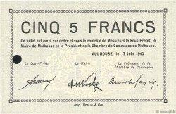 5 Francs FRANCE régionalisme et divers Mulhouse 1940 K.069 pr.NEUF