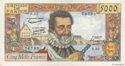 5000 Francs HENRI IV FRANCE  1957 F.49.03 SUP
