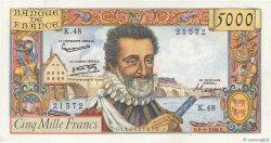 5000 Francs HENRI IV FRANCE  1958 F.49.06 SUP