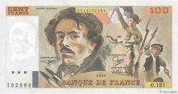 100 Francs DELACROIX imprimé en continu FRANCE  1991 F.69bis.03b1 SUP+
