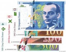 50 Francs SAINT-EXUPÉRY  à 500 Francs CURIE FRANCE  1992 F.72.01a  à F.76 NEUF