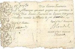10 Livres Tournois gravé FRANCE  1719 Dor.01 AB