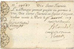 10 Livres Tournois gravé FRANCE  1719 Dor.01 TTB